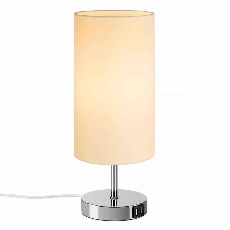 Tomons Nachttischlampe »Nachttischlampe E27, Tischlampe aus Stoff«, Mit Berührungsschalter, mit Glühbirne, mit 2 USB Ladeanschlüssen