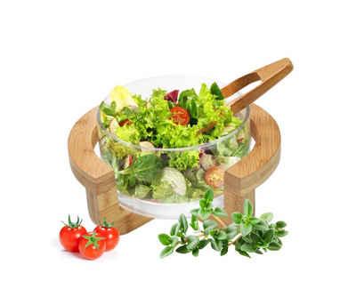 Sendez Salatschüssel »Salatschale inkl. Salatbesteck und Gestell Salatschüssel Schüssel Servierschale«, Glas