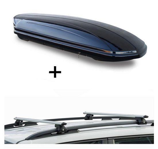 VDP Fahrradträger, Skibox VDPMAA580G schwarz glänzend + Alu Relingträger VDPCRV120 kompatibel mit Ssangyong Korando ab10