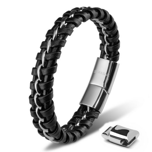 SERASAR Lederarmband »Herrenarmband Leder Steel« (1-tlg), aus Echtleder, Länge durch extra Glied verstellbar