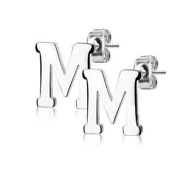 BUNGSA Ohrstecker-Set »Ohrstecker Buchstaben Silber Edelstahl Damen« (inkl. Schmuckbeutel aus Organza), Ohrschmuck Ohrringe Frauen Geschenk Liebe