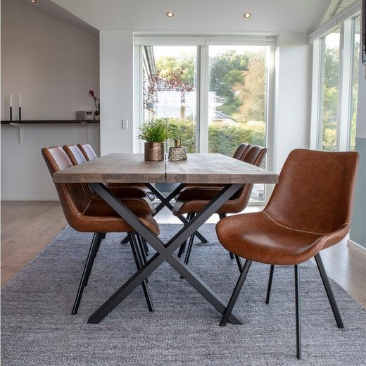 ebuy24 Essgruppe »Moss Essgruppe, 1 Esstisch und 6 Stühle braun und«