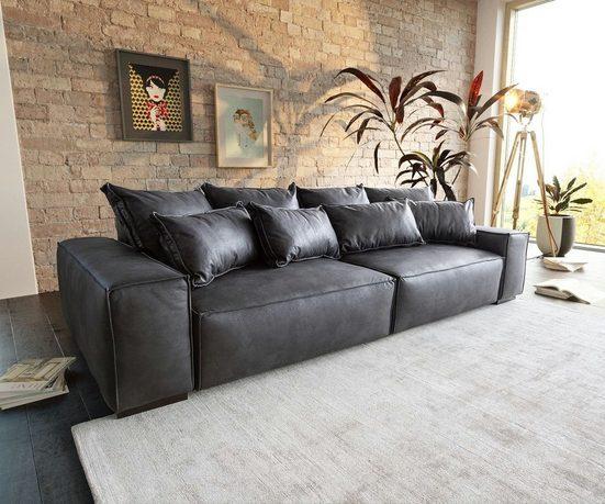 DELIFE Big-Sofa »Sirpio«, XL Anthrazit 270x125 cm Kedernaht Vintage mit Kissen Big Sofa