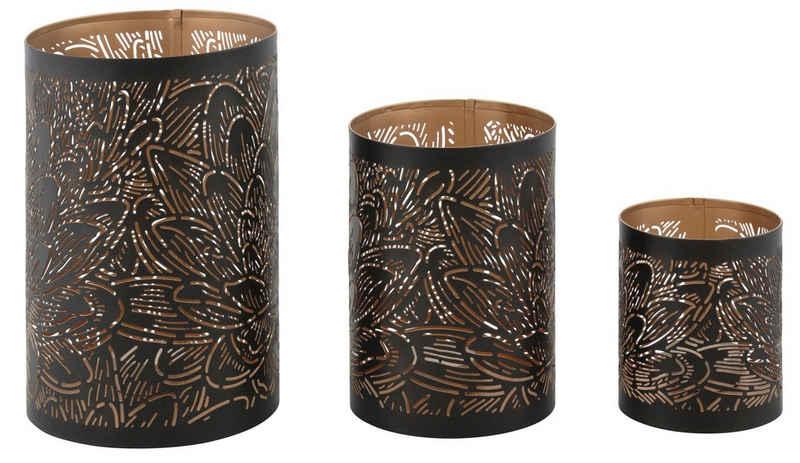 Leonique Windlicht »Blattlook« (Set, 3 Stück), außen schwarz, innen goldfarben