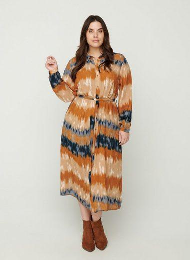 Zizzi Shirtkleid Große Größen Damen Viskose Bindeband Knöpfe Print