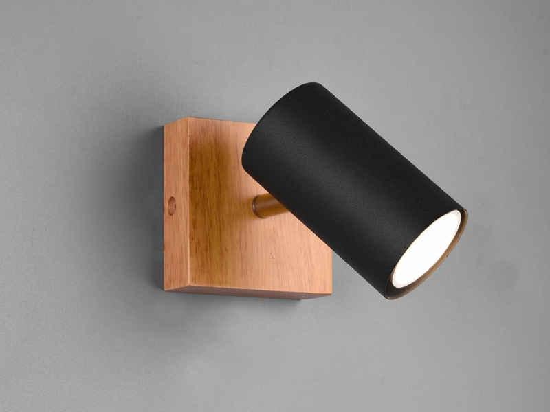 meineWunschleuchte LED Wandstrahler, innen, Holz-Lampe Spot Metall Schwarz matt, einflammig, Lichtspots schwenkbar