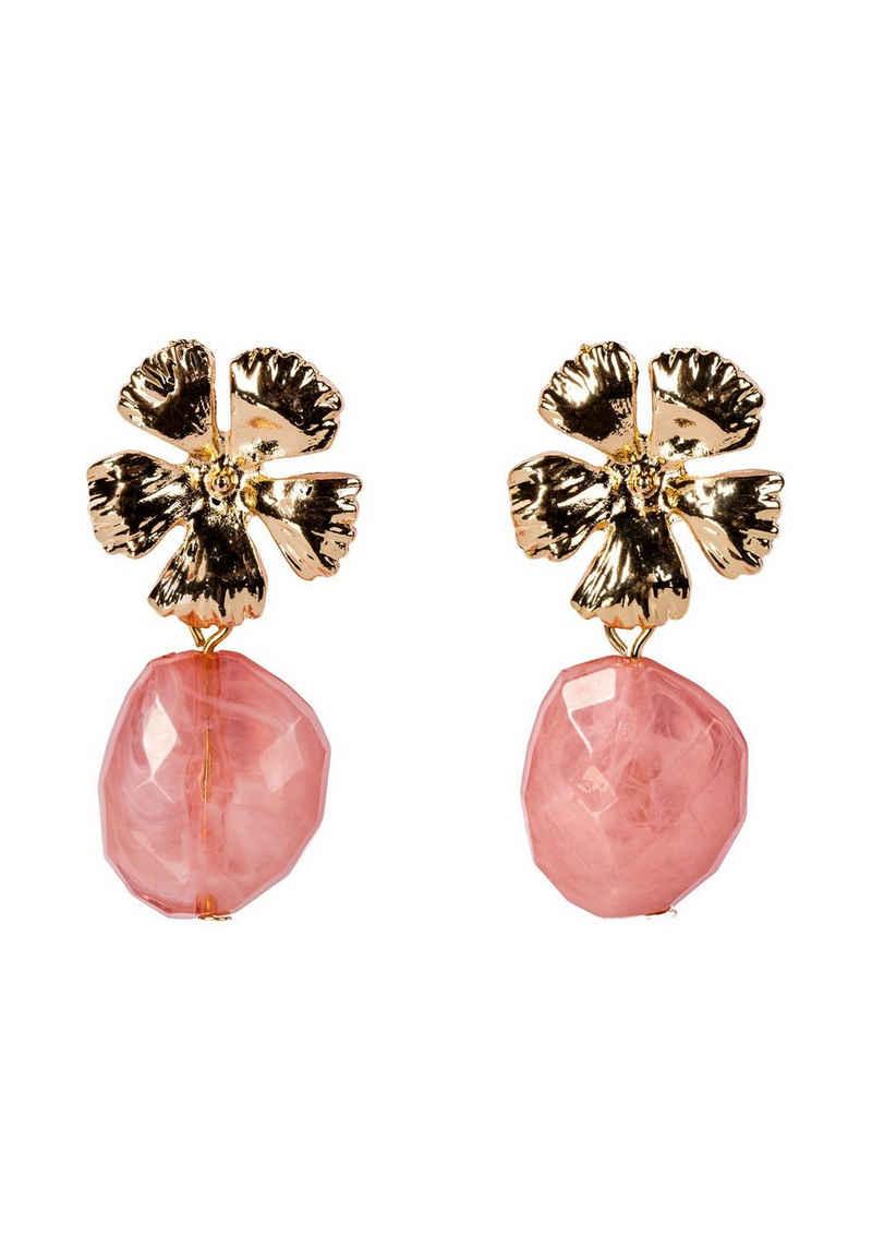 HALLHUBER Paar Ohrhänger »mit Blüte und Zierstein«
