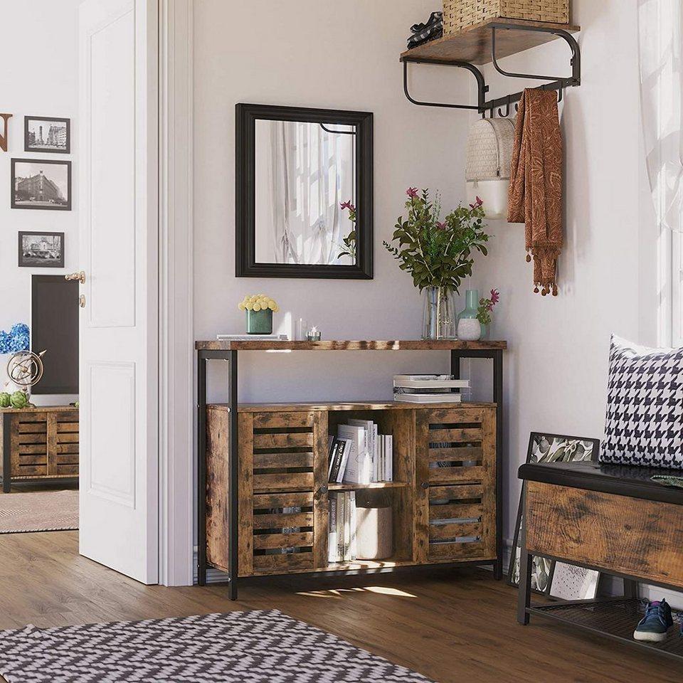 VASAGLE Sideboard »LSC17BX«, Sideboard, Beistellschrank, Küchenschrank mit  offenen Regalfächern, Flurschrank, Kommode mit Lamellentüren, Wohnzimmer,
