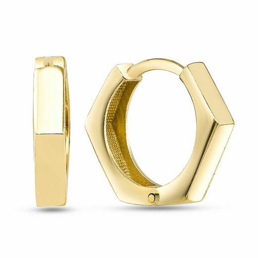 dKeniz Creolen »925/- Sterling Silber vergoldet Postmodern Ohrring«