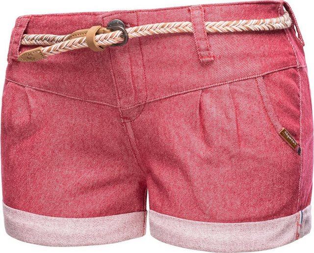 Hosen - Ragwear Chinoshorts »Heaven A« kurze Hose mit hochwertigem Flechtgürtel › rot  - Onlineshop OTTO