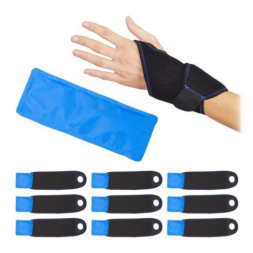 relaxdays Gelkissen »10 x Kühlpad Handgelenk Bandage«