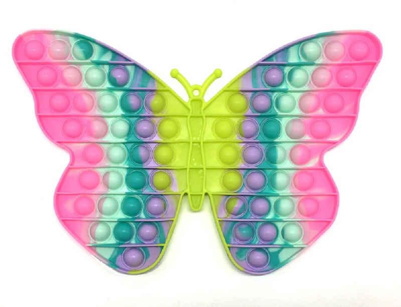 C&T Spiel, »Regenbogen Schmetterling 30 cm - Pop It Bubble Push Plop Up Fidget - Anti-Stress Spiel«