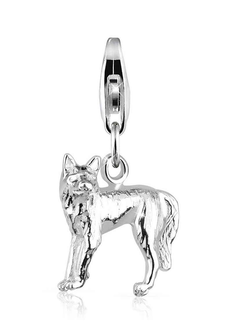 Elli Charm-Einhänger »Wolf Tier Natur 925 Sterling Silber«, Wolf