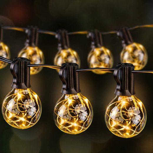 Ulinek LED-Lichterkette, Lichterkette Außen Glühbirnen Ulinek 13.5M 36er G40 Birnen mit 3 Ersatzbirne, IP65 Wasserdichte Lichterkette für Innen Garten Party Hochzeit usw, Warmweiß