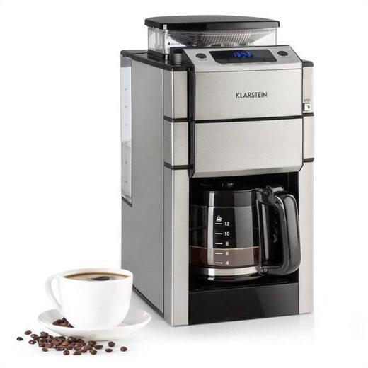 Klarstein Filterkaffeemaschine Aromatica X Kaffeemaschine Mahlwerk Glaskanne Aroma+ Edelstahl, 0l Kaffeekanne