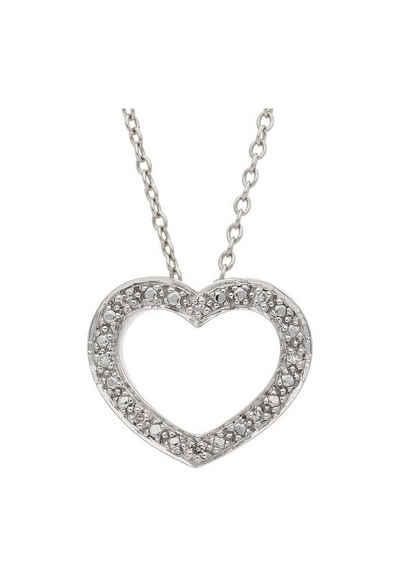 JuwelmaLux Herzanhänger »Anhänger Weißgold Herz mit Diamant(en)« (1-tlg), Anhänger ohne Kette Weißgold 585/000, inkl. Schmuckschachtel
