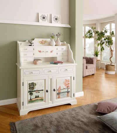 Premium collection by Home affaire Sekretär »Sophia«, aus schönem massivem Fichtenholz, mit einzigartiger Handbemalung, Breite 113 cm