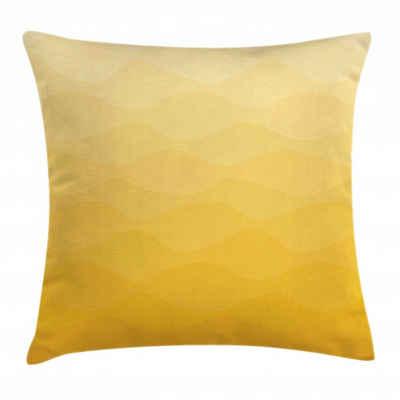 Abakuhaus Kissenbezug »Waschbar mit Reißverschluss Kissenhülle mit Farbfesten Klaren Farben Beidseitiger Druck«, Yellow Ombre Retro Einfache Wellenförmige Kunst