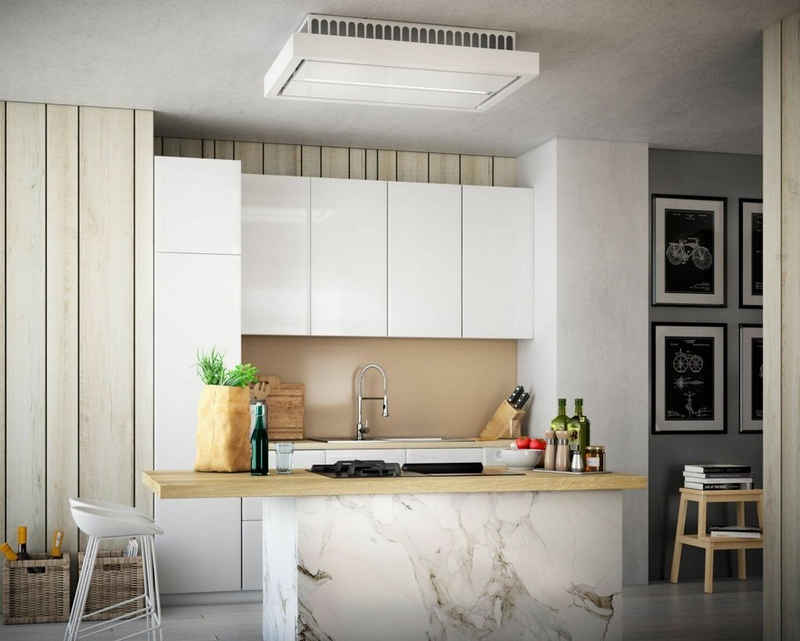 Baumann Deckenhaube Aura 90 WGL, Dunstabzugshaube 90 cm, Weißglas Edelstahl, 4 Stufen, LED Strip mit 12 W,ebm-Pabst-Motor, 940 m³/ h