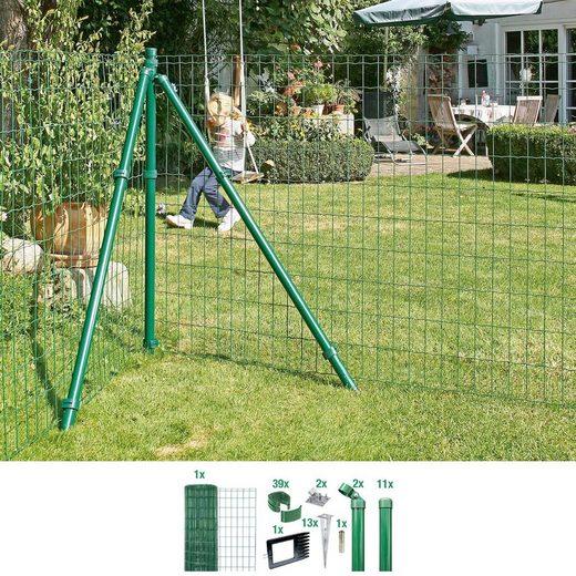 GAH Alberts Schweissgitter »Fix-Clip Pro®«, (Set), 81 cm hoch, 25 m, grün beschichtet, mit Bodenhülsen