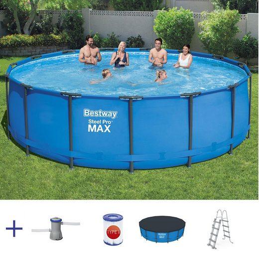 BESTWAY Pool »BESTWAY Steel Pro Frame Pool Rund Swimmingpool mit Pumpe Leiter Cover 457x122cm«