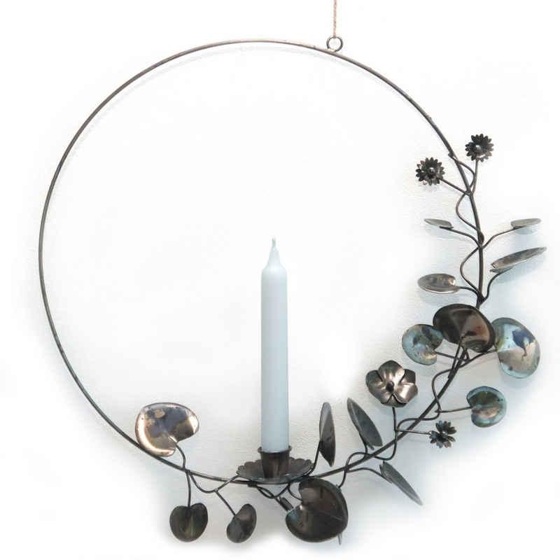 EXNER Kerzenhalter »Metallkranz Kerzenhalter zum Aufhängen Metall Kranz schwarz Vintage Landhaus Deko 39 cm«, Aus Metall