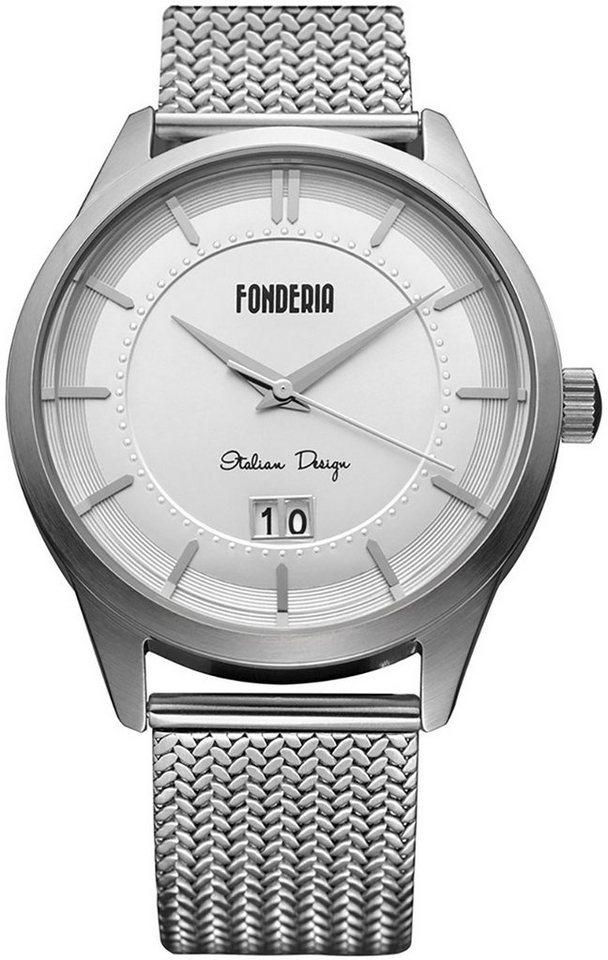 fonderia -  Quarzuhr »UAP8A010US1  Herren Uhr 8A010US1 Edelstahl«, (Analoguhr), Herren Armbanduhr rund, silber, weiß