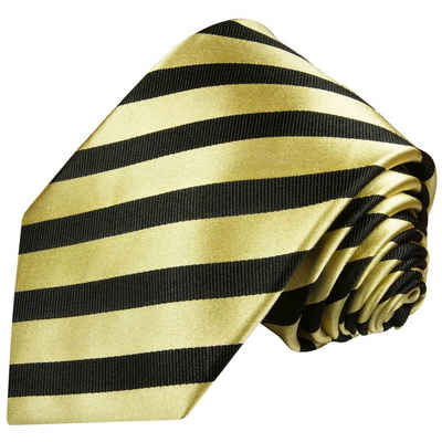 Paul Malone Krawatte »Moderne Herren Seidenkrawatte gestreift 100% Seide« Schmal (6cm), gold schwarz 335