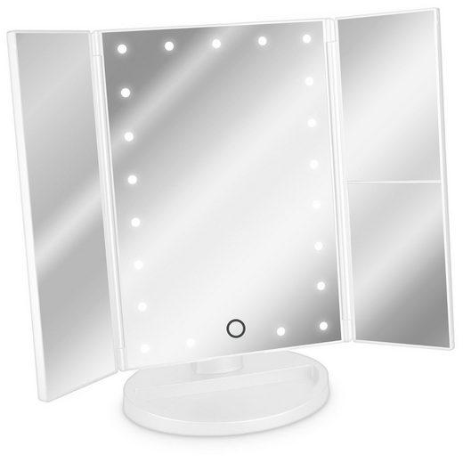Navaris LED-Lichtspiegel, Kosmetikspiegel faltbarer Standspiegel - beleuchteter LED Schminkspiegel Make Up Spiegel 2-fach 3-fach Vergrößerungsspiegel