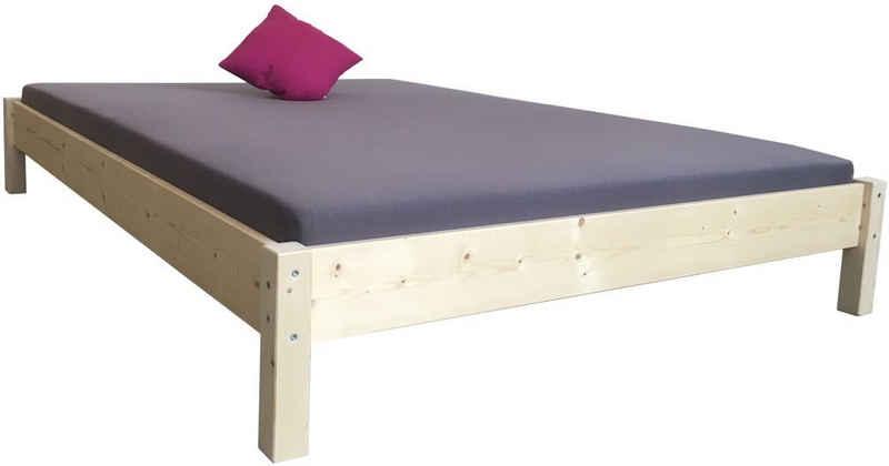 LIEGEWERK Bett »Futonbett Massivholzbett Bett Holz hergestellt in BRD 90 100 120 140 160 180 200 x 200cm«, 100x200cm