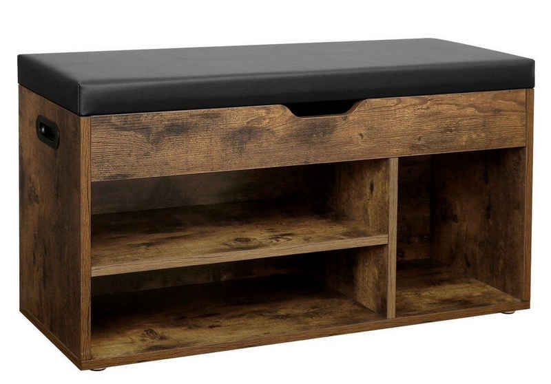 VASAGLE Schuhbank »LHS30«, Sitzbank, gepolstert, 3 offene Fächer, mit Stauraum, bis 150 kg belastbar