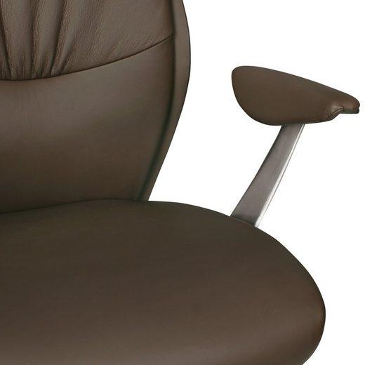 Amstyle Chefsessel »SPM1.146« Bürostuhl OXFORD 1 Echtleder Braun Schreibtischstuhl X-XL 120 kg Synchronmechanik Chefsessel Kopfstütze hoch