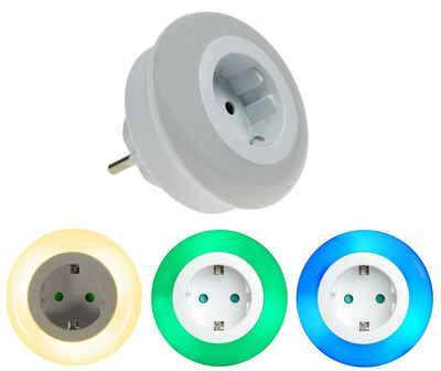 TRANGO LED Nachtlicht, 1er Set 11-053 LED Kindernachtlicht mit Steckdose Orientierungslicht, Nachtlampe incl. Helligkeits- Dämmerungssensor & Touchschalter für drei LED Farbeinstellung warmweiß-blau-Grün Sicherheitslicht
