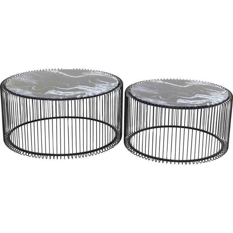 KARE Beistelltisch »Couchtisch Wire Glas Marble Schwarz 2Set«