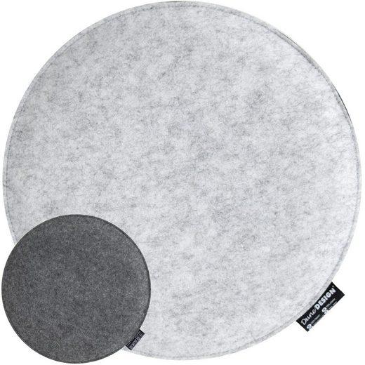 DuneDesign Stuhlkissen »Filz Sitzkissen rund Stuhlkissen Sitzauflage«, Ø 35cm Grau rund 25mm