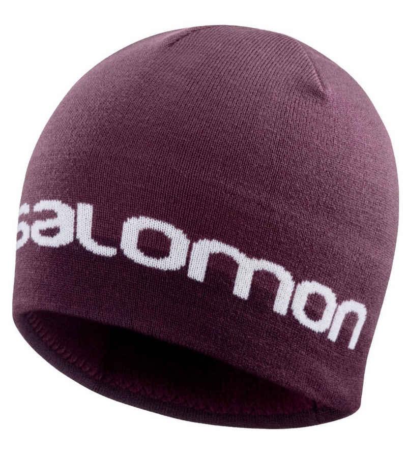 Salomon Beanie »Salomon Graphic Beanie gemütliche Strick-Mütze für Damen und Herren Winter-Mütze Bordeaux«