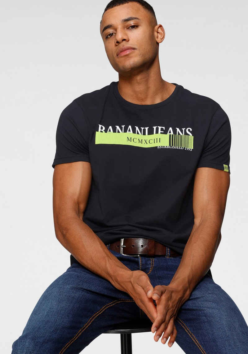 Bruno Banani T-Shirt mit neonfarbenen Print