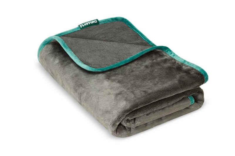 FLUFFINO® Tierdecke »Hundedecke/ Wendedecke (150x100 cm; Grau)«, wendbar, flauschig weich & strabazierfähig, robust, 40°C waschbar, vielseitig einsetzbar, hochwertige Verarbeitung
