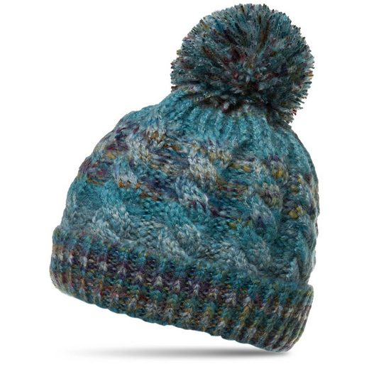 Caspar Bommelmütze »MU170 Gefütterte Damen Vintage Winter Mütze Bommelmütze multicolor«