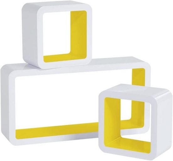 Woltu Wandregal, 3-tlg., Wandregal Cube Regal 3er Set Würfelregal Hängeregal