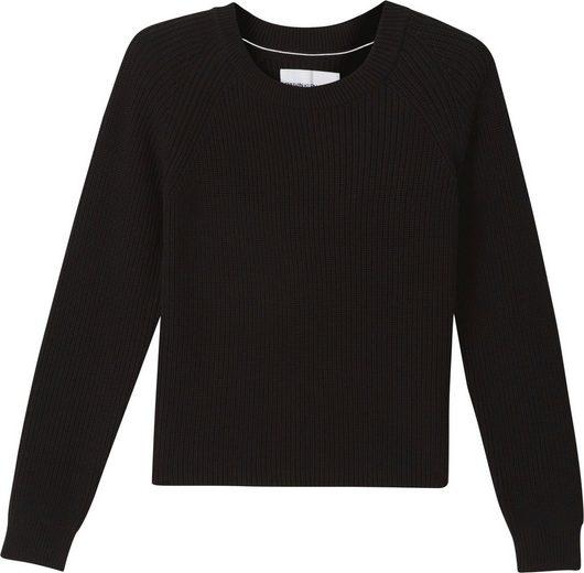 Calvin Klein Jeans Rundhalspullover »MID GG CROSS OVER BACK« im modischen, groben Rippenstrick