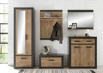 my home Garderoben-Set »BRÜGGE«, (Komplett-Set, 5-St., bestehend aus Garderobenschrank mit Spiegel, Kommde, Spiegel, Garderobenbank und -paneel), mit einer dekorativen Rahmenoptik