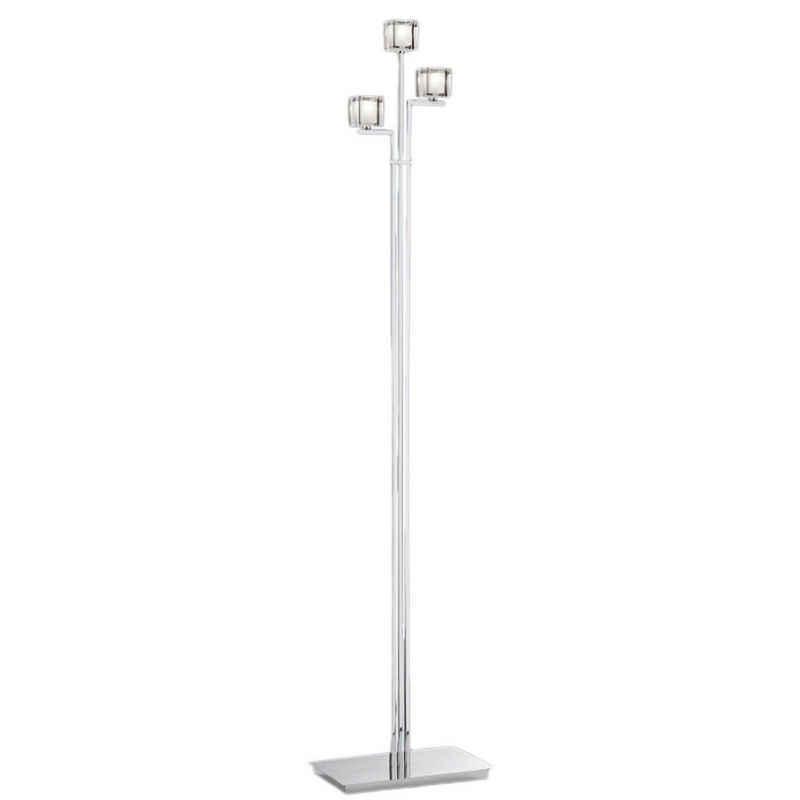 Qualitaetsware24 Stehlampe »Deutsche Halogen Stehleuchte Chrom Fußdimmer 3xG4 max. je 20W Kristallglas 140cm«
