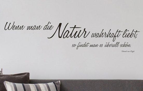 QUEENCE Wandtattoo »Wenn man die Natur…«, dunkelgrau, 118 x 26 cm