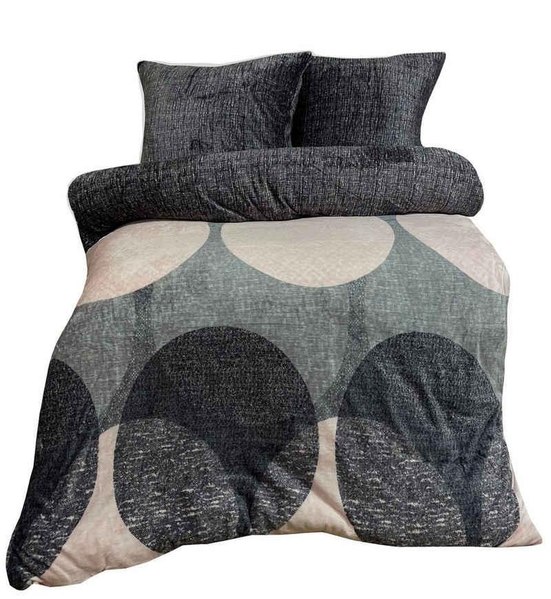 Bettwäsche, Leonado Vicenti, weiche Plüsch Bettwäsche mitmelierter Wendeseite