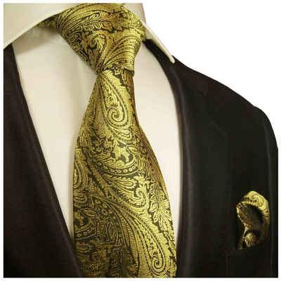Paul Malone Krawatte »Herren Seidenkrawatte mit Tuch modern paisley floral 100% Seide« (Set, 2-St., Krawatte mit Einstecktuch) Breit (8cm), gold schwarz 358