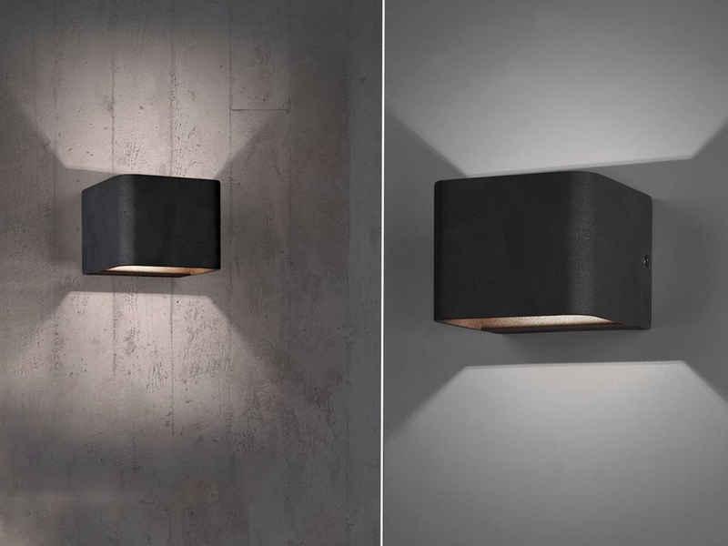 meineWunschleuchte LED Wandleuchte, innen, 2er Set, Lampe Treppenhaus Up Down, Flur-Lampe Wand-Montage, Schwarz