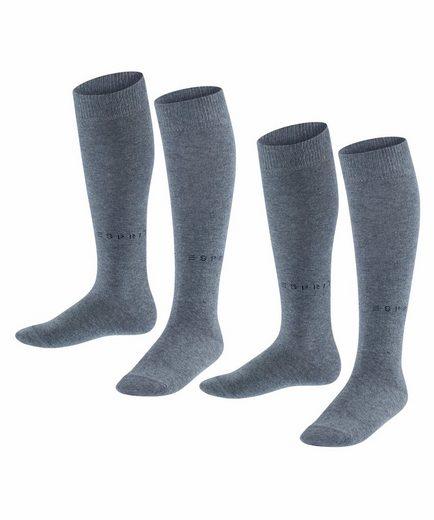 Esprit Kniestrümpfe »Foot Logo 2-Pack« (2-Paar) aus hautfreundlicher Baumwolle