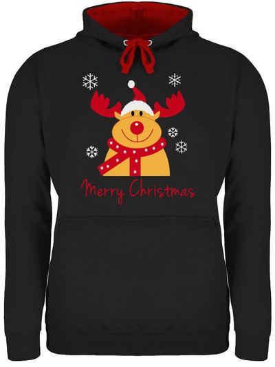 Shirtracer Hoodie »Merry Christmas Rentier - Weihnachten & Silvester - Unisex Damen & Herren Kontrast Hoodie«