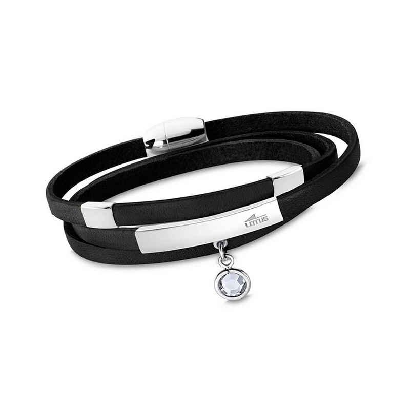 Lotus Style Armband »JLS1961-2-3 LOTUS Style Armband schwarz« (Armband), für Damen aus Edelstahl (Stainless Steel), Echtleder
